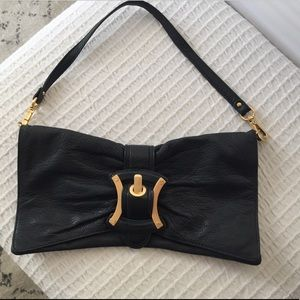 Handbags - Navy blue clutch with strap, gorgeous leather